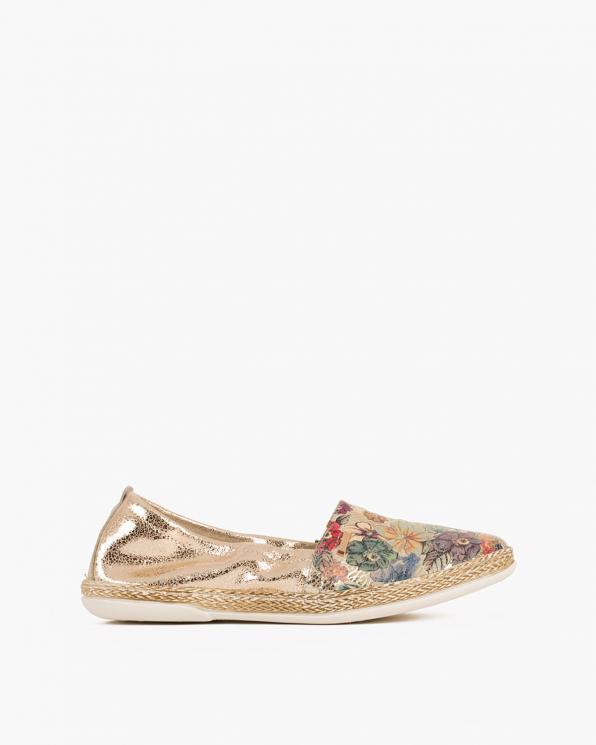 Złote baleriny skórzane z motywem  085-10012-FLOWER