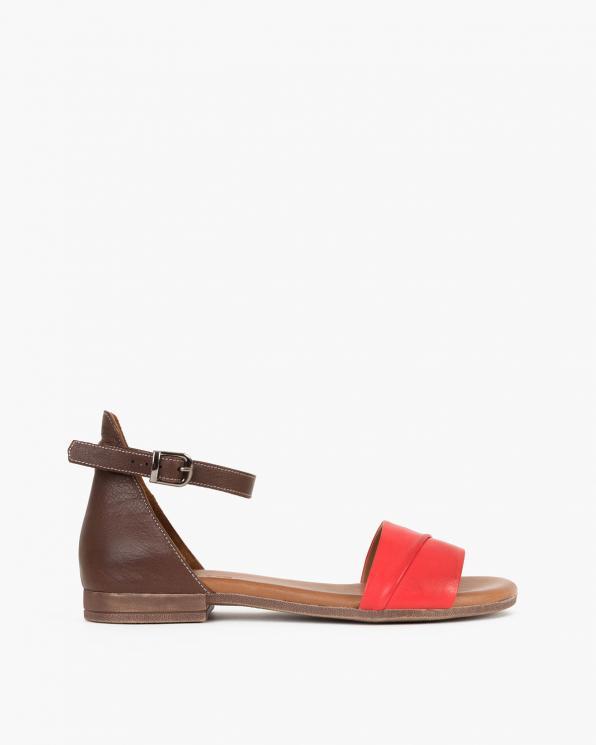 Czerwono-czekoladowe sandały damskie skórzane  078-2210-CZERWON