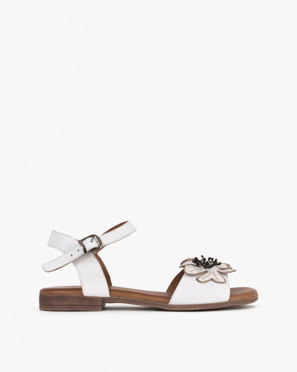 Białe sandały damskie skórzane z kwiatami  078-2204-BIAŁY