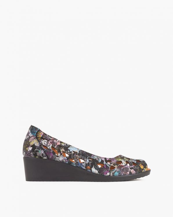 Czarne sandały damskie nubukowe z motywem  084-154-CZARNY
