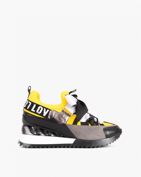 Żółto-czarne sneakersy ze wstążką  083-88-CZARNO-ŻÓ