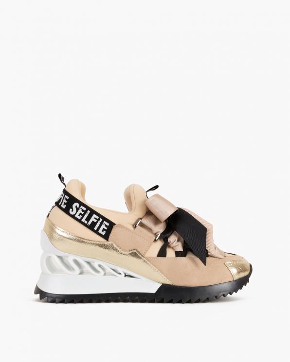 Beżowo-złote sneakersy ze wstążką  083-88-BEŻ