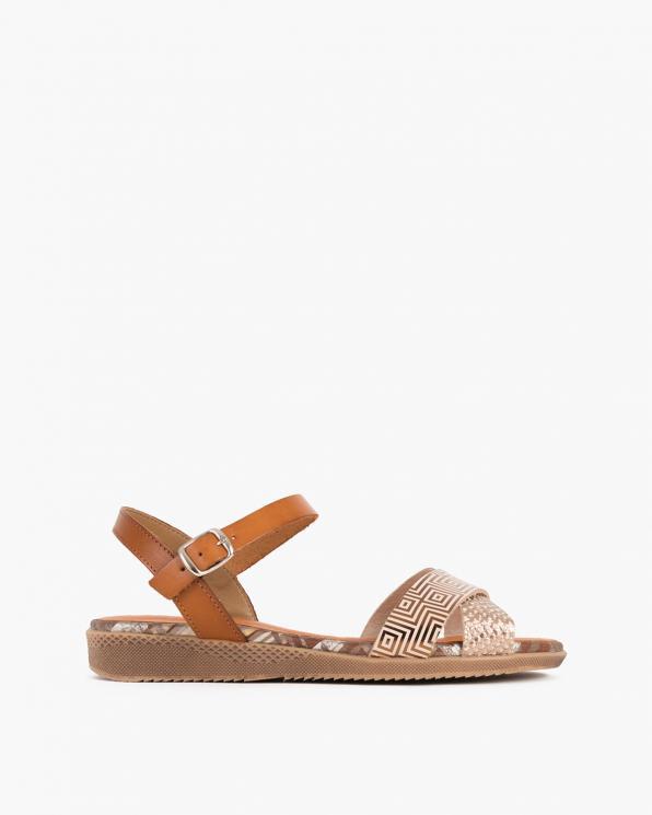 Brązowe sandały damskie skórzane z motywem  009-5272-MIEDZIA