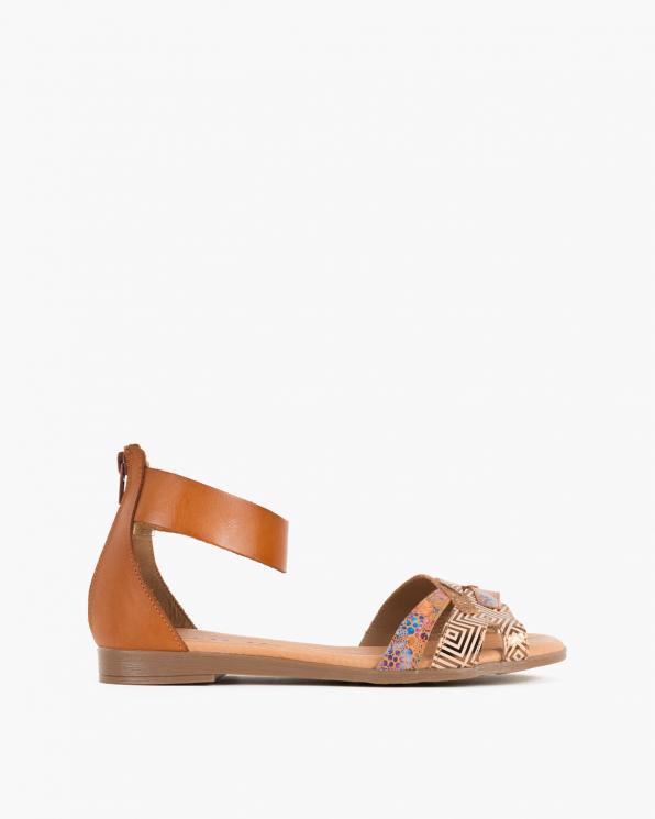 Brązowe sandały damskie skórzane z motywem  009-2633-BRĄZOWY