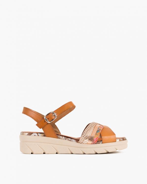 Brązowe sandały damskie skórzane na koturnie  009-1243-BRĄZ