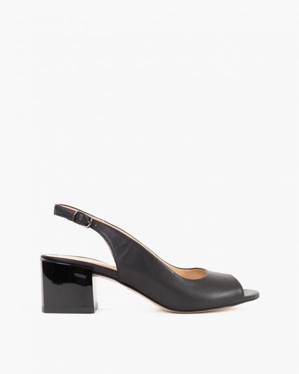 Czarne sandały damskie skórzane na słupku  101-802-02