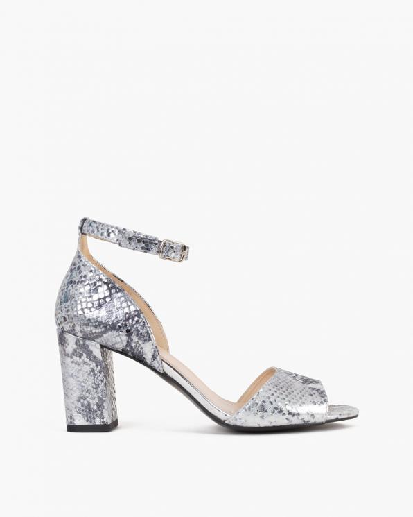 Srebrno-szare sandały damskie skórzane z motywem  058-7893-A-4