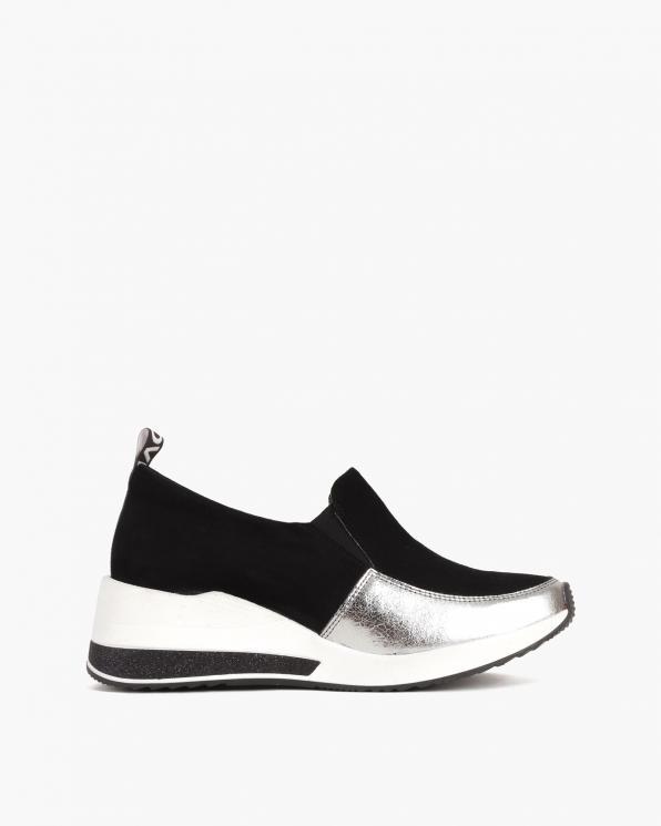 Srebrno-czarne sneakersy zamszowe  046-904-CZ-SREB