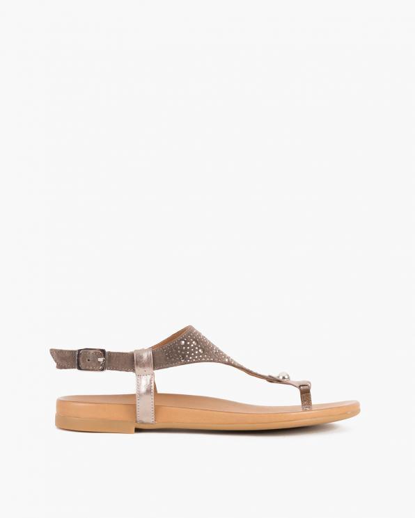 Ciemnobeżowe sandały damskie nubukowe z kryształkami  103-0131-TOUPE