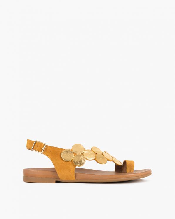 Musztardowe sandały damskie nubukowe z kółeczkami  103-0033-TAXI
