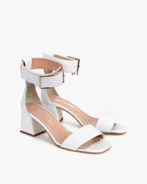 Białe sandały damskie skórzane na klocku  108-8218-BIAŁY