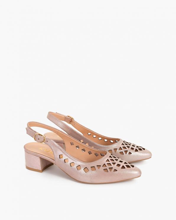 Beżowe sandały damskie nubukowe na klocku  108-522-BEŻ