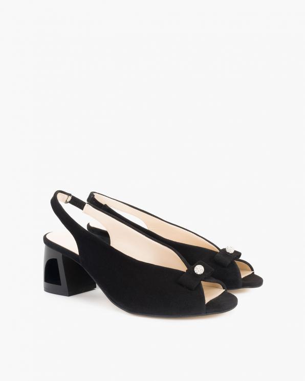 Czarne sandały damskie welurowe peep toe  108-503-CZARNY