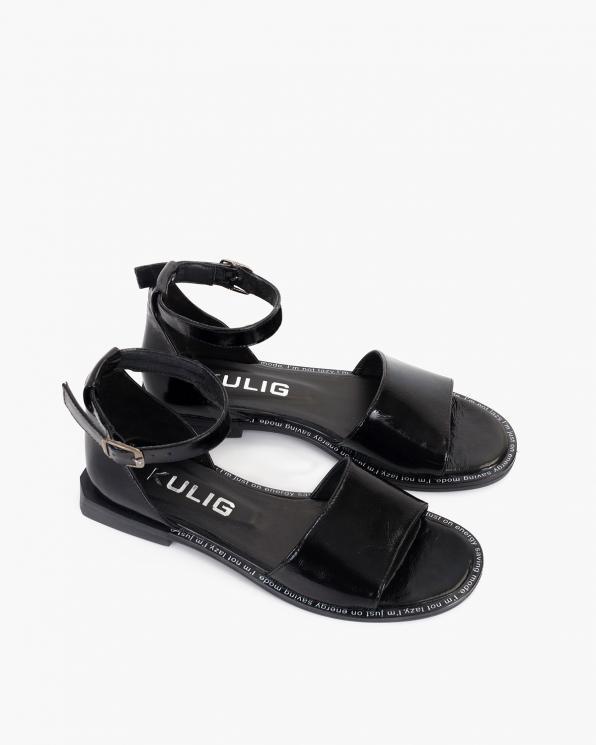 Czarne sandały damskie lakierowane  108-11-4-CZARNY