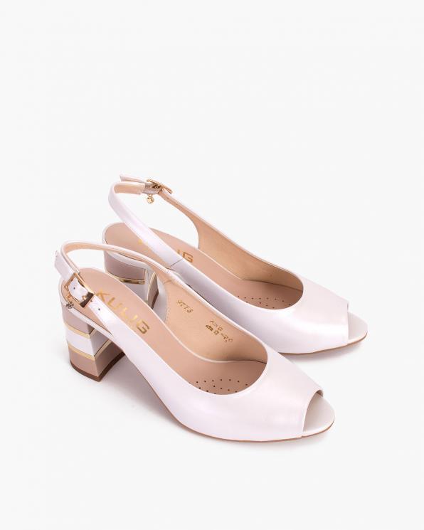 Perłowe sandały damskie skórzane na słupku  024-3779-1581