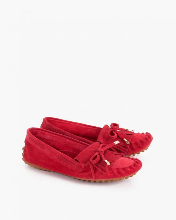 Czerwone mokasyny damskie zamszowe z frędzlami  114-623-CZERWONY