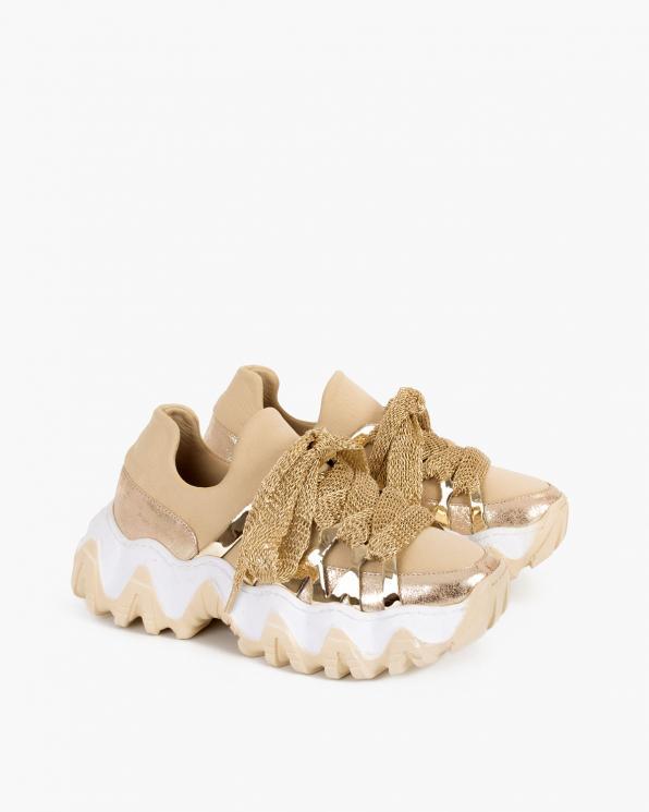 Beżowo-złote sneakersy skórzane  116-109-002 BEŻ