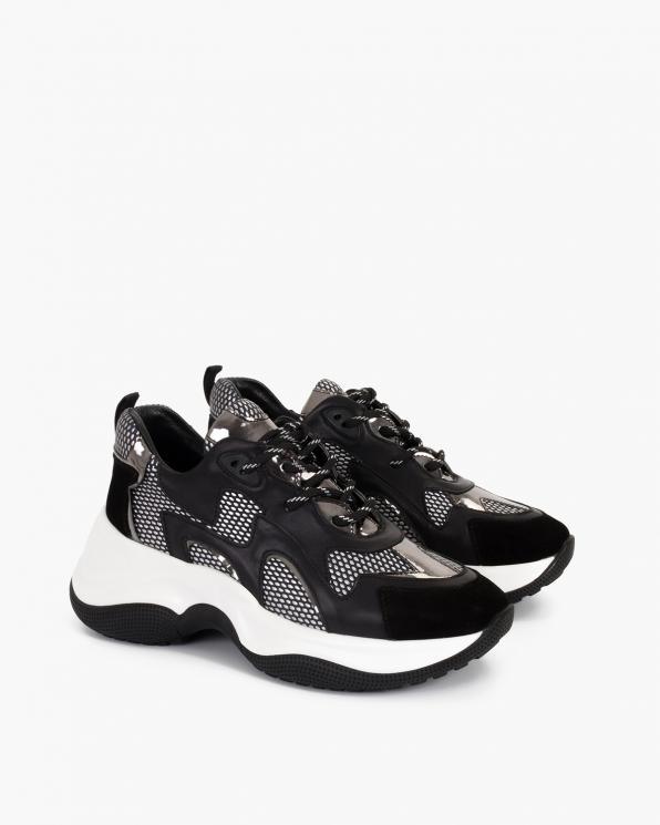 Czarno-srebrne sneakersy skórzane  116-106-003-CZAR