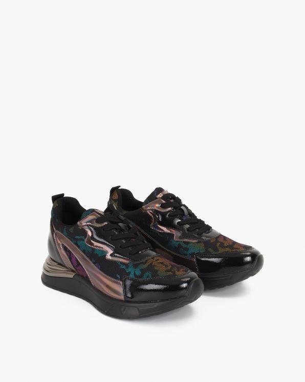 Wielokolorowe sneakersy skórzane z siatką  105-10676-MULTI