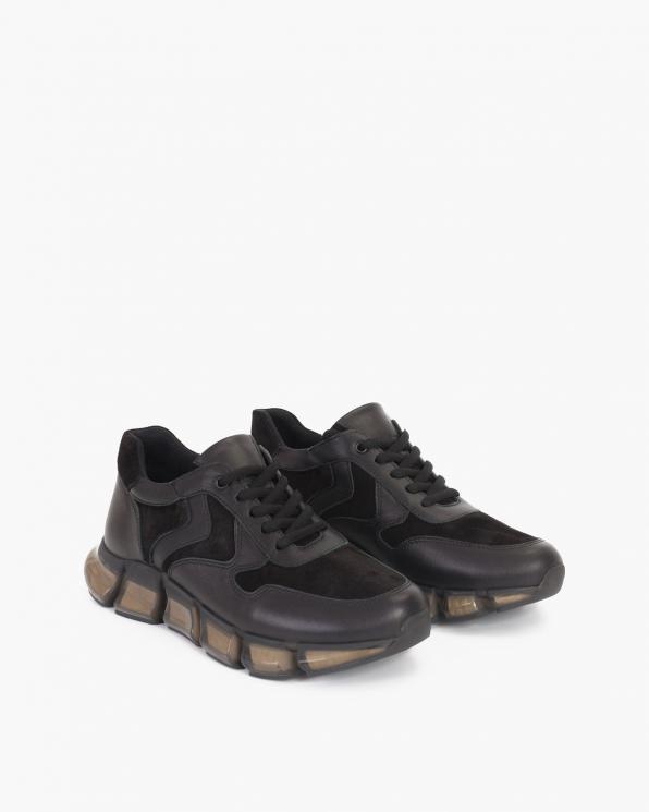Czarne sneakersy skórzane  108-625-CZARNY