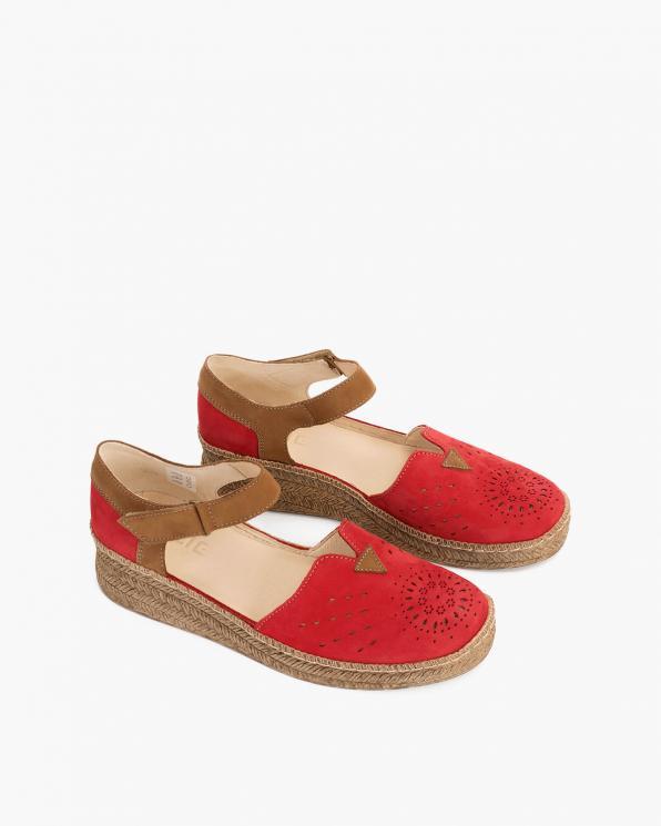 Czerwone sandały damskie nubukowe espadryle  110-826-CZERWONY