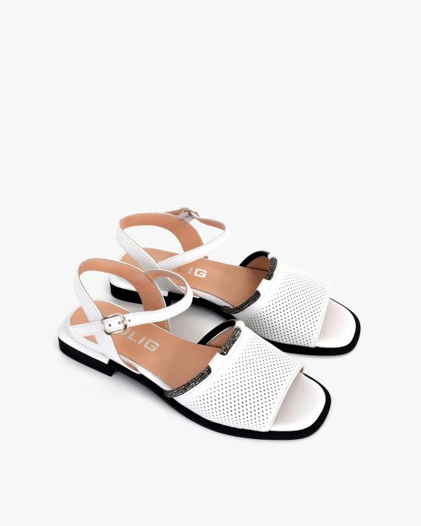Białe sandały damskie skórzane ażurowe  108-173-532-BIAŁ