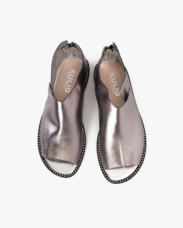 Grafitowe sandały damskie skórzane saszki  024-8679-8391