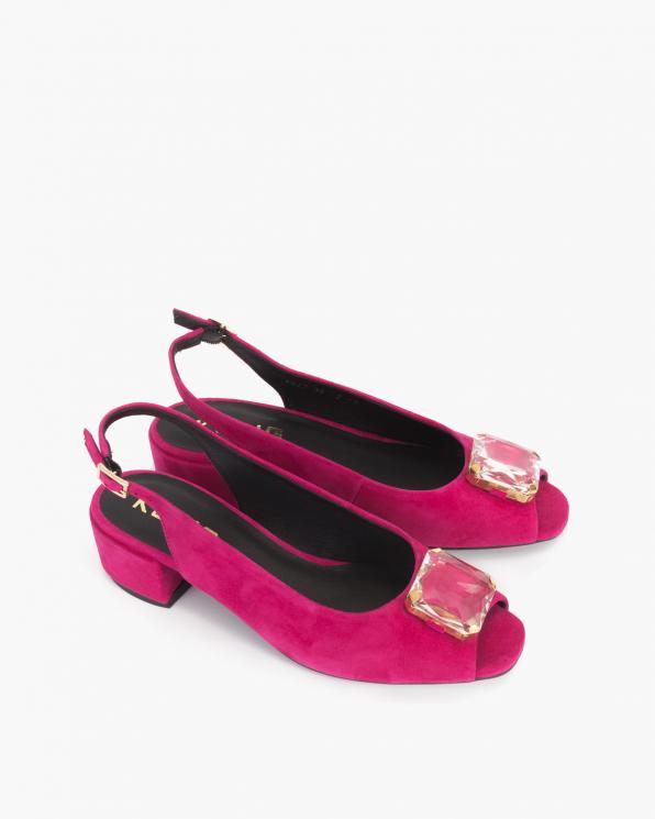 Fuksjowe sandały damskie zamszowe z kamieniem  012-748-FUKSJA