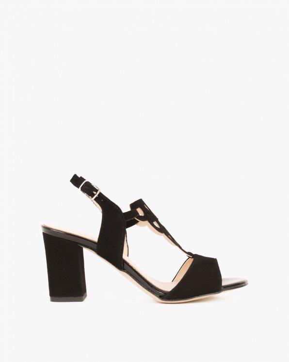 Czarne sandały welurowe na klocku  058 4963-CZARNY