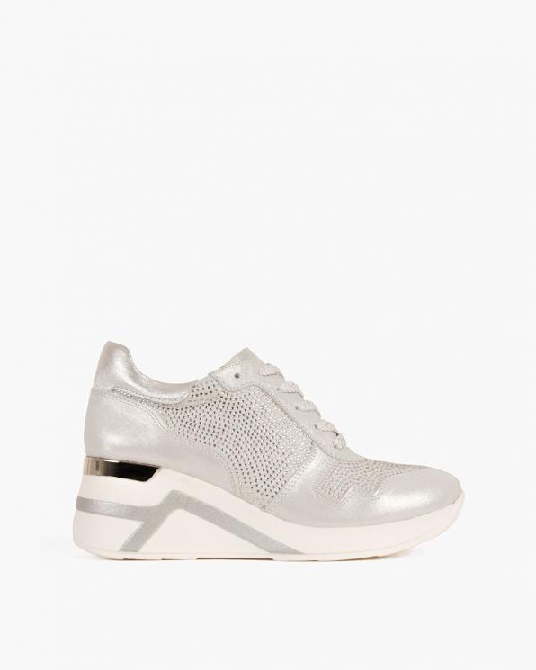 Szare sneakersy nubukowe z kryształkami  098-600-BIAŁY