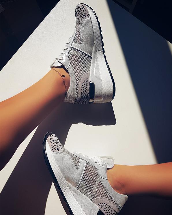 Białe sneakersy nubukowe  080 135-BIAŁE