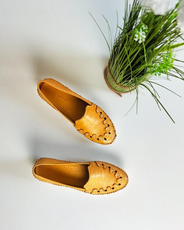 Żółte mokasyny damskie skórzane 097-429-ŻÓŁTY