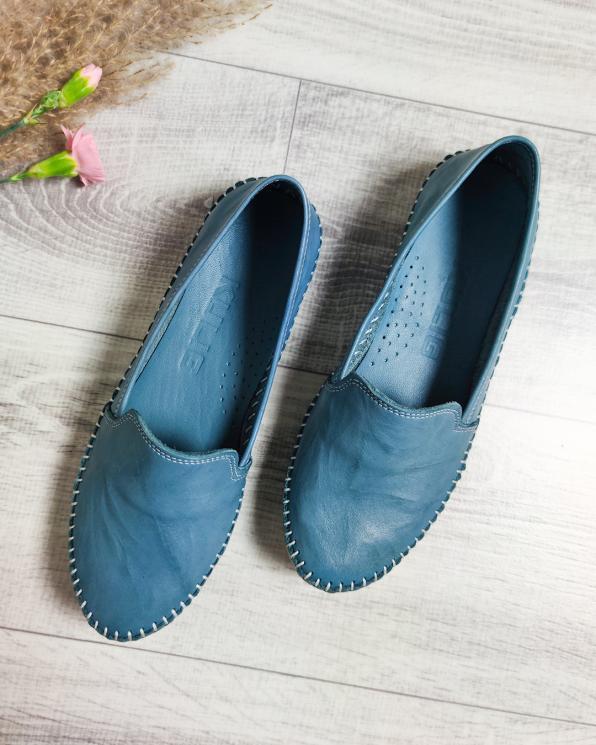 Niebieskie mokasyny damskie skórzane  097-427-BLUE