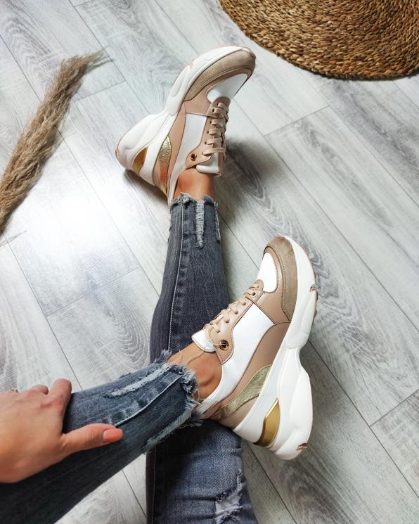 Beżowo-białe sneakersy skórzane  083-129-5-BEŻOWY