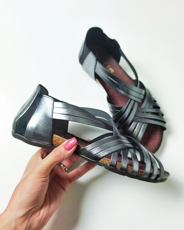 Grafitowe sandały damskie skórzane płaskie  009-4021-ANTRACY