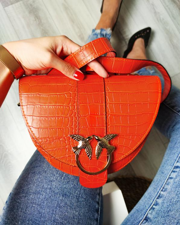 Pomarańczowa torebka damska lakierowana z ptakami 107-PTAK-POMARAŃCZ