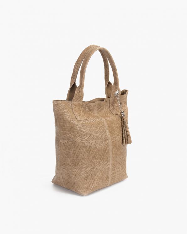 Beżowa torebka damska pleciona z frędzlem 107-PLECIONY-BEŻ