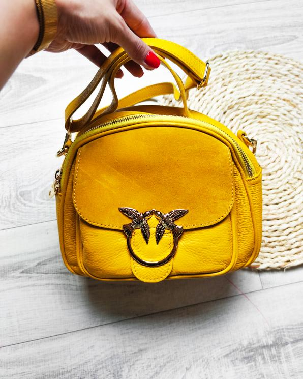 Żółty kuferek damski skórzany z ptakami 107-KUFEREK-ŻÓŁTY