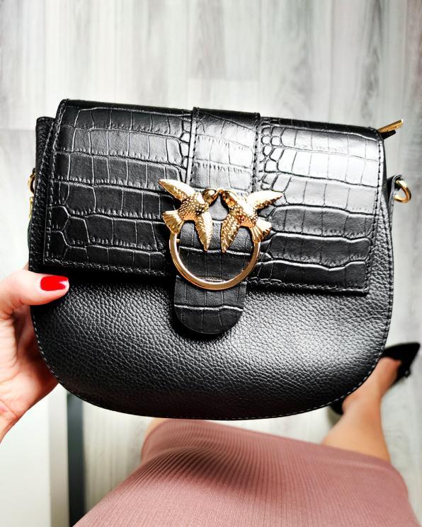 Czarna torebka damska skórzana z ptakami 107-KROKODYL-CZARNY