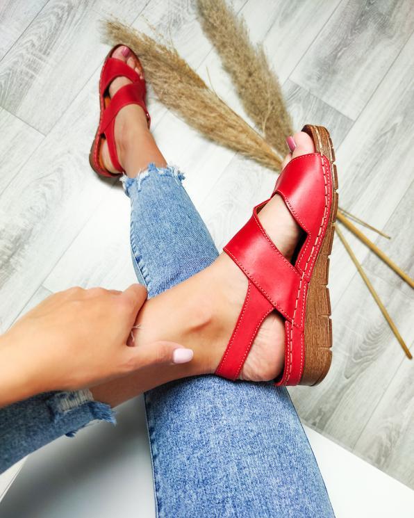 Czerwone sandały damskie skórzane  112-809-CZERWONY