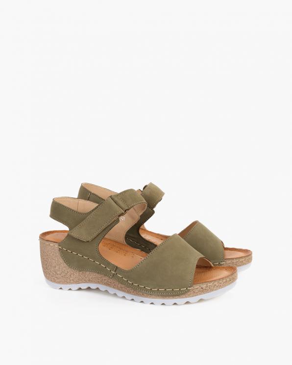 Oliwkowe sandały damskie nubukowe na koturnie  110-474-ZIELONY
