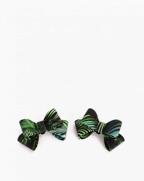 Czarno-zielone kokardki do butów z motywem  COQ-874-JUNGLE