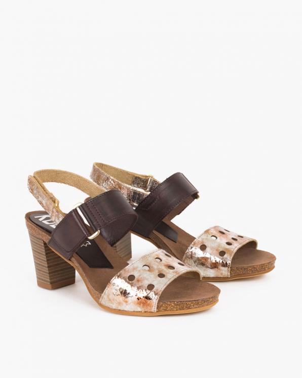 Srebrne sandały skórzane na słupku  009 -24371-MARON