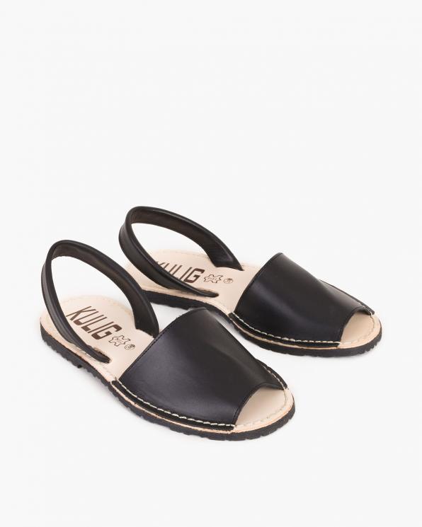 Czarne sandały skórzane  009 -102-CZARNY