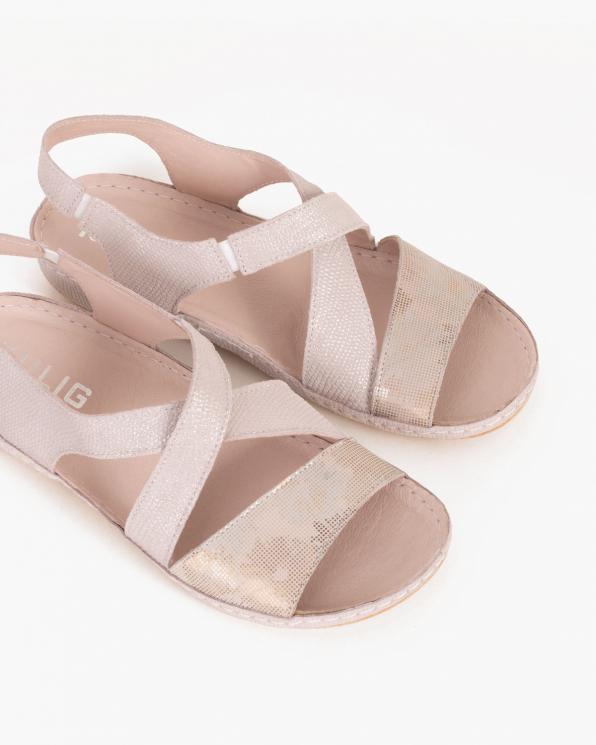 Pudrowe sandały skórzane  043 -944-PUD-RÓŻ