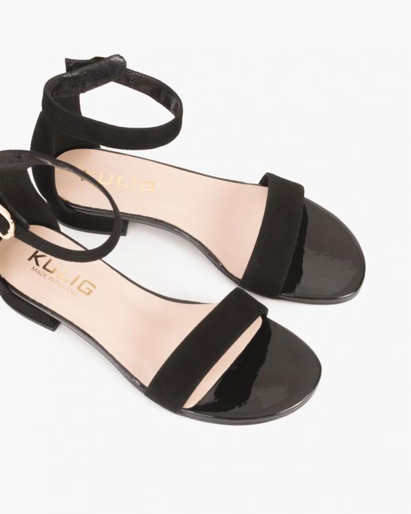 Czarne sandały welurowe  024 -4705-12