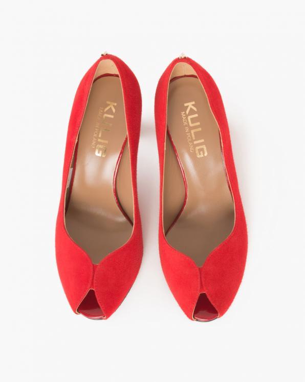 Czerwone czółenka zamszowe na słupku  024 -2907-82
