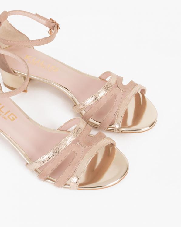 Pudrowe sandały welurowe  053 -3210-RÓŻ