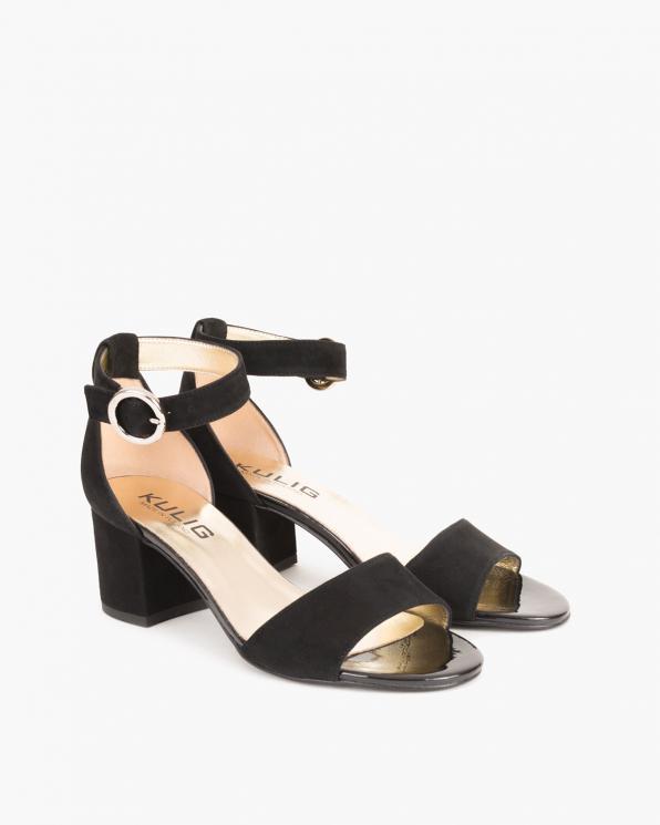 Czarne sandały welurowe na słupku  024 -9407-12