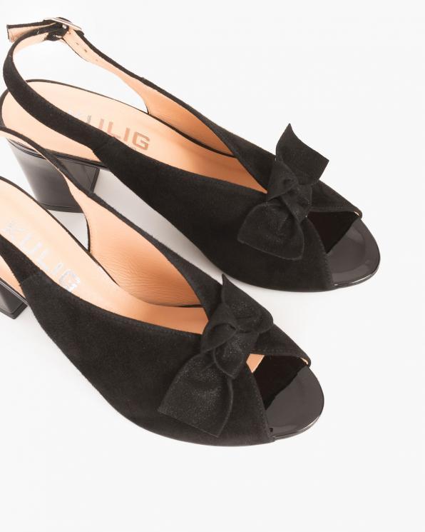 Czarne sandały peep toe z kokardą  060 -723-CZARNY